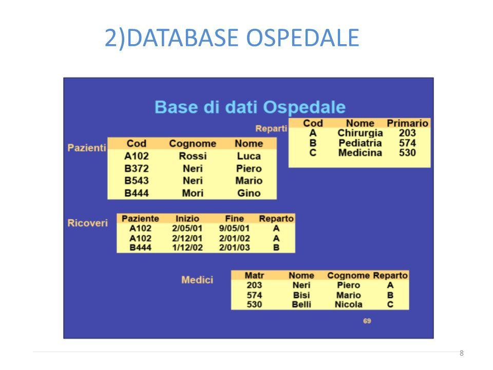 8 2)DATABASE OSPEDALE