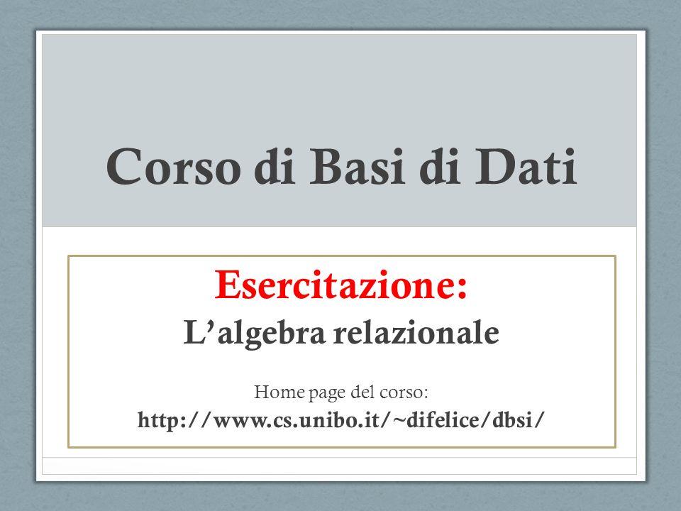 Esercizio 1 Dato il seguente schema: POETA(Nome, Cognome, AnnoNascita, LuogoNascita) ROMANZIERE (Nome, Cognome, Anno, LuogoNatio) Scrivere in algebra relazionale la query che determina: 1.Il cognome dei poeti nati a Bologna nel 1966.