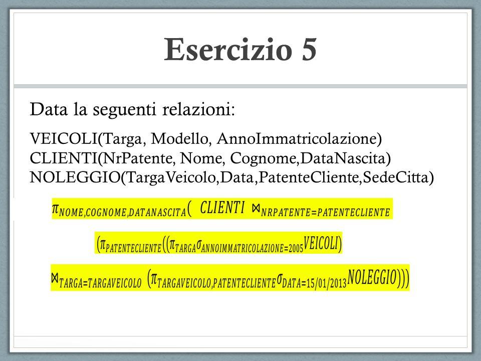 Esercizio 5 Data la seguenti relazioni: VEICOLI(Targa, Modello, AnnoImmatricolazione) CLIENTI(NrPatente, Nome, Cognome,DataNascita) NOLEGGIO(TargaVeic