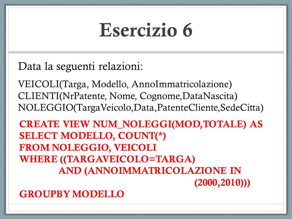 Esercizio 6 Data la seguenti relazioni: VEICOLI(Targa, Modello, AnnoImmatricolazione) CLIENTI(NrPatente, Nome, Cognome,DataNascita) NOLEGGIO(TargaVeic