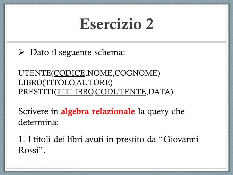 Esercizio 2 Dato il seguente schema: UTENTE(CODICE,NOME,COGNOME) LIBRO(TITOLO,AUTORE) PRESTITI(TITLIBRO,CODUTENTE,DATA) Scrivere in algebra relazionale la query che determina: 2.