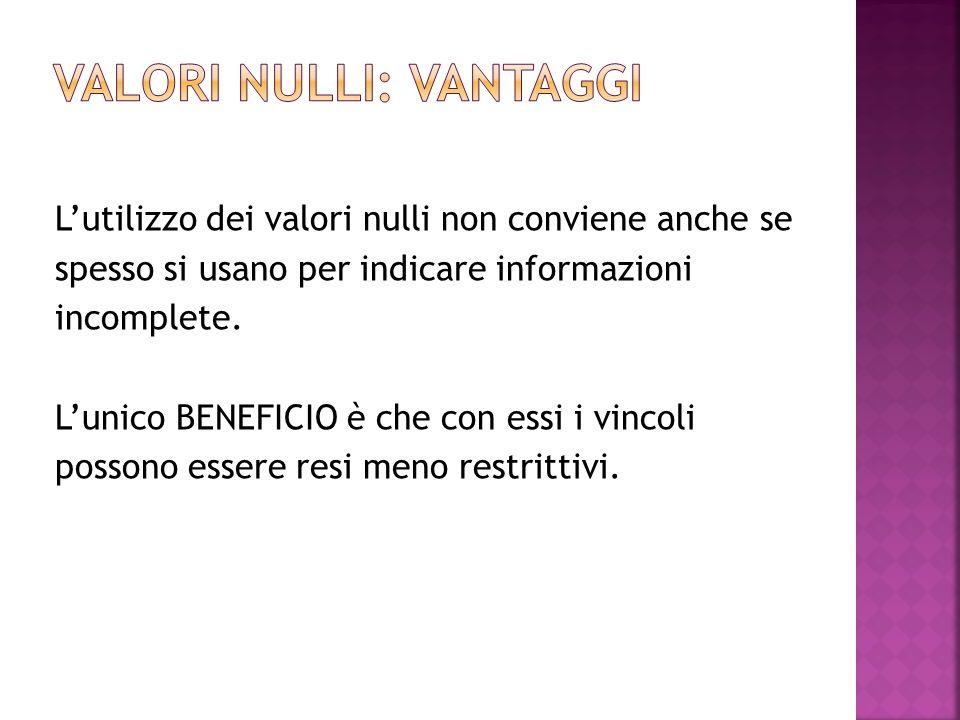 Lutilizzo dei valori nulli non conviene anche se spesso si usano per indicare informazioni incomplete.
