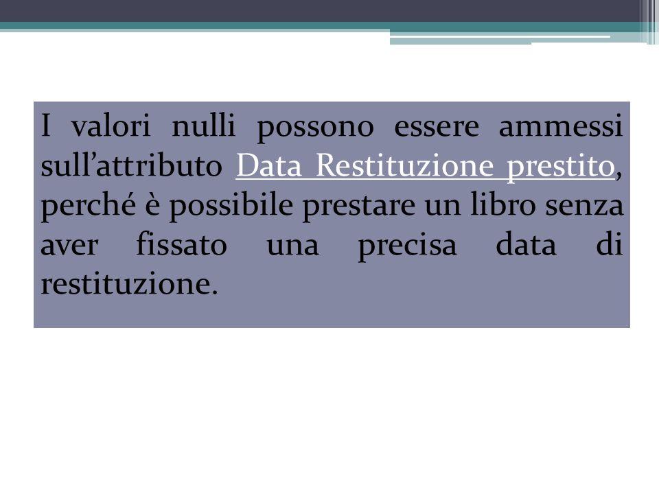 I valori nulli possono essere ammessi sullattributo Data Restituzione prestito, perché è possibile prestare un libro senza aver fissato una precisa data di restituzione.