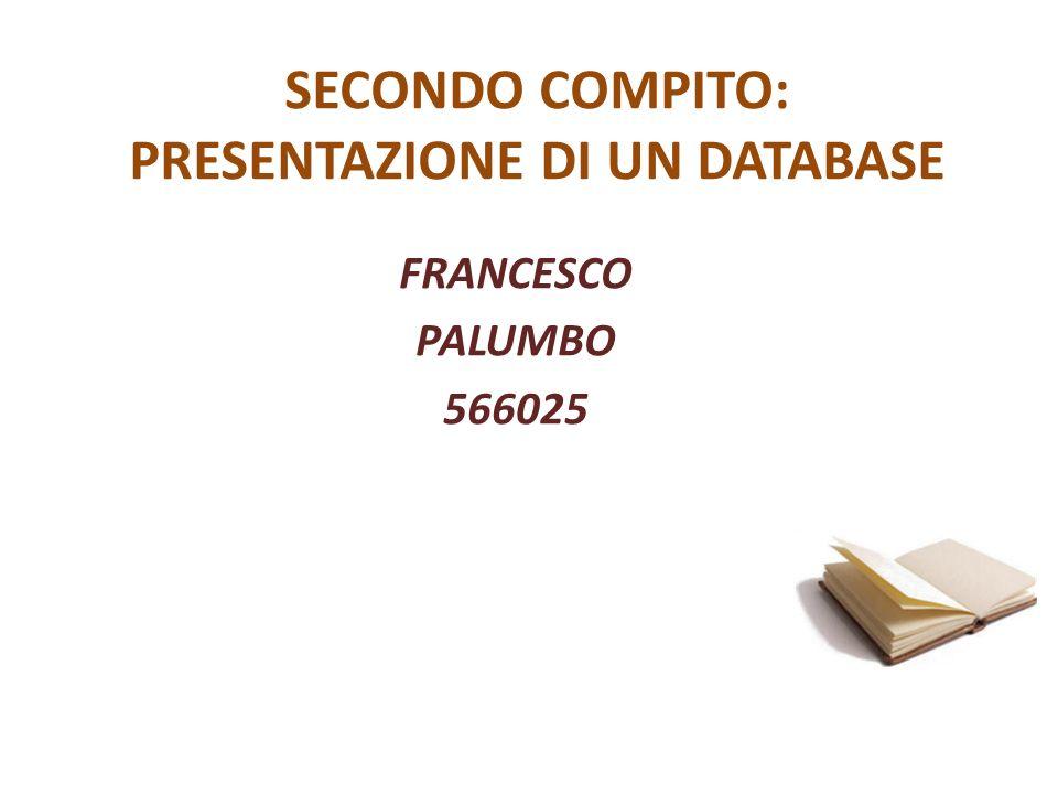 SECONDO COMPITO: PRESENTAZIONE DI UN DATABASE FRANCESCO PALUMBO 566025