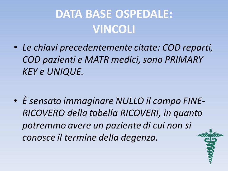 DATA BASE OSPEDALE: VINCOLI Le chiavi precedentemente citate: COD reparti, COD pazienti e MATR medici, sono PRIMARY KEY e UNIQUE. È sensato immaginare