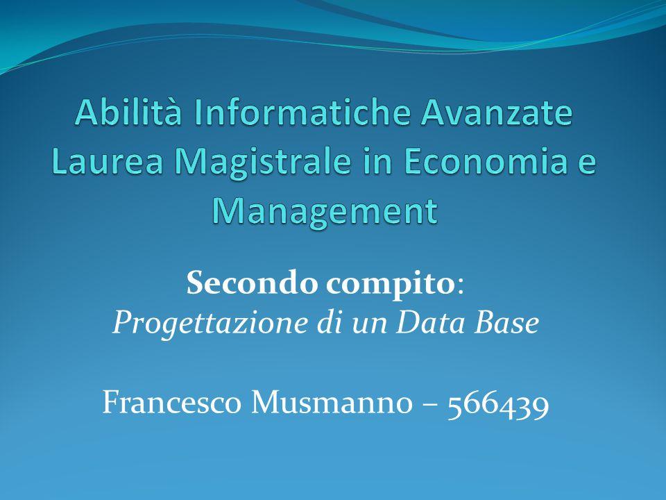Secondo compito: Progettazione di un Data Base Francesco Musmanno – 566439