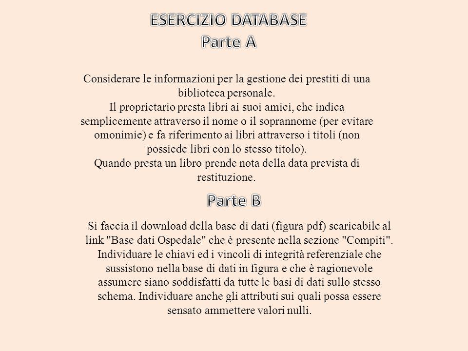 Considerare le informazioni per la gestione dei prestiti di una biblioteca personale.