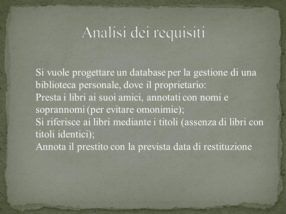 Si vuole progettare un database per la gestione di una biblioteca personale, dove il proprietario: Presta i libri ai suoi amici, annotati con nomi e s