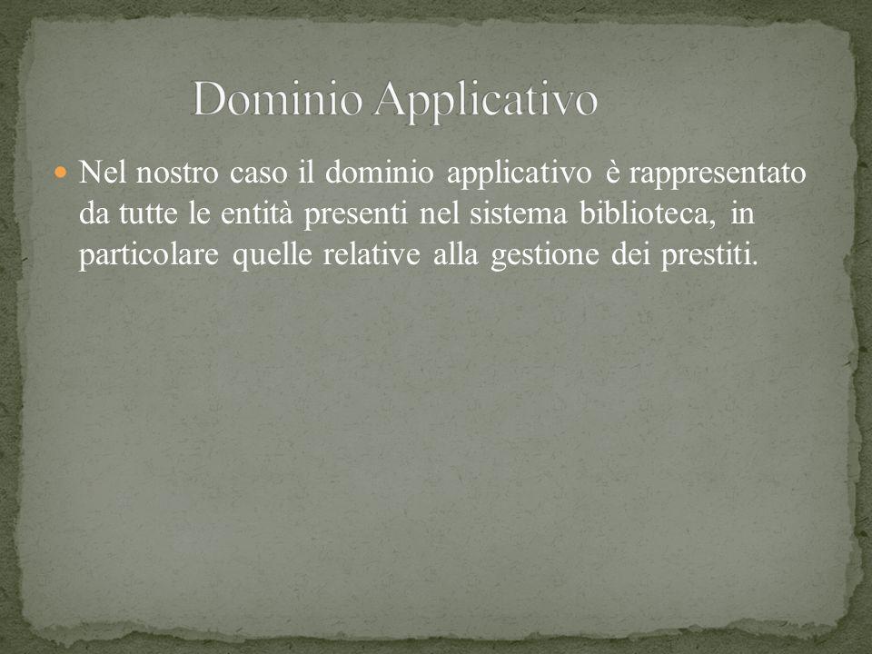Nel nostro caso il dominio applicativo è rappresentato da tutte le entità presenti nel sistema biblioteca, in particolare quelle relative alla gestion