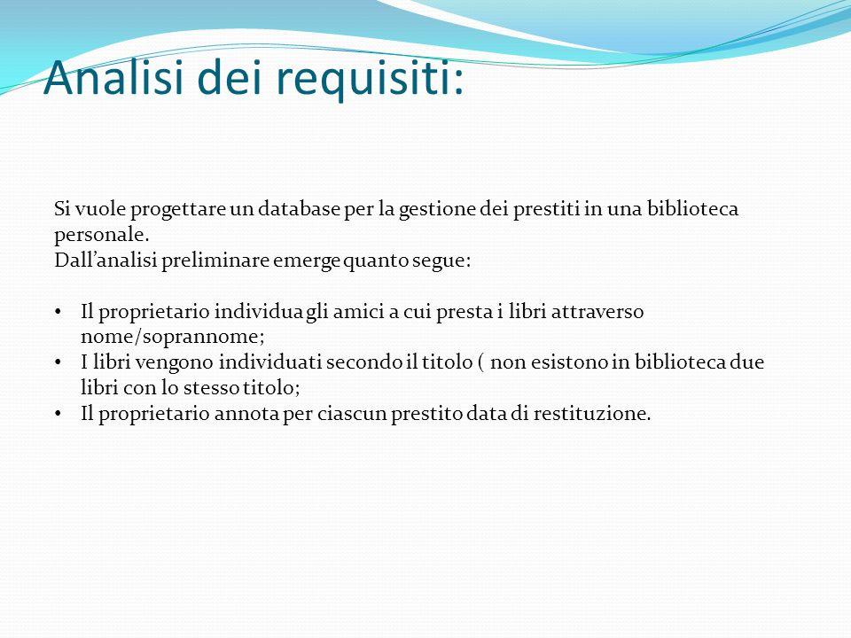 Analisi dei requisiti: Si vuole progettare un database per la gestione dei prestiti in una biblioteca personale. Dallanalisi preliminare emerge quanto