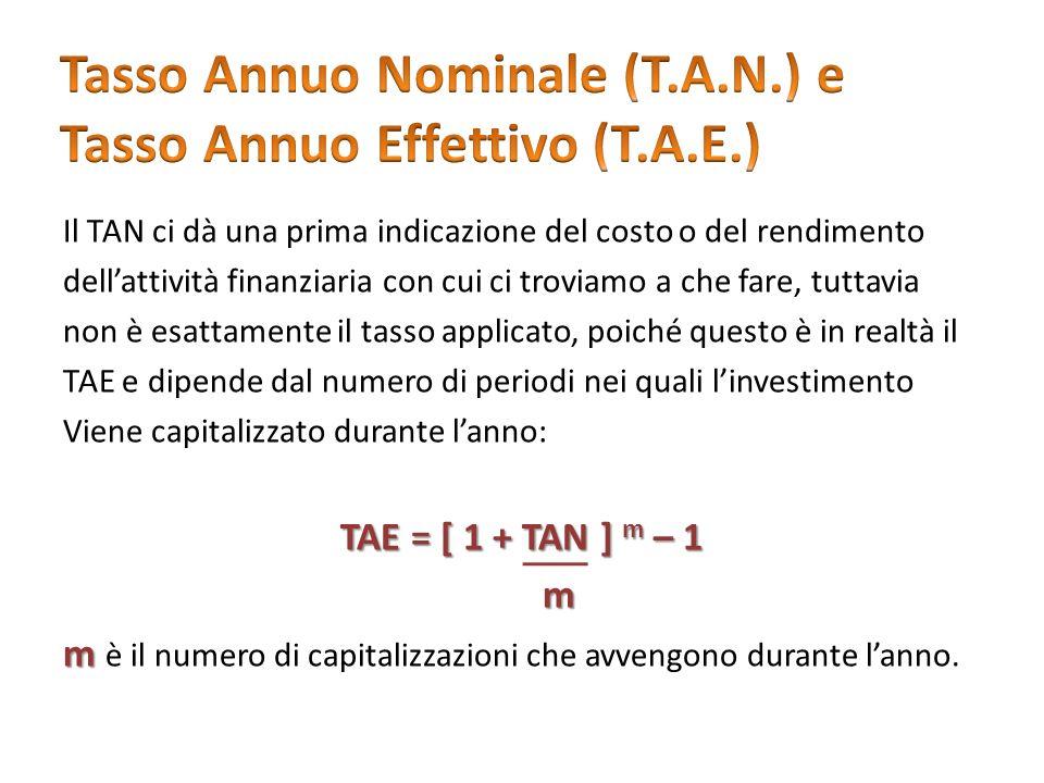 Il TAN ci dà una prima indicazione del costo o del rendimento dellattività finanziaria con cui ci troviamo a che fare, tuttavia non è esattamente il t