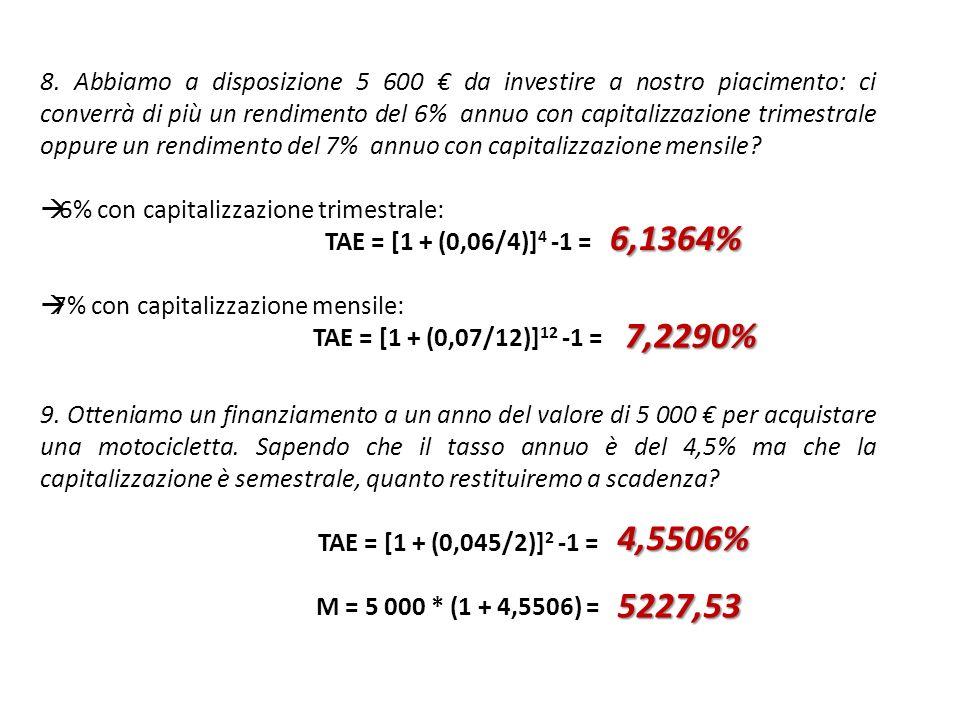 8. Abbiamo a disposizione 5 600 da investire a nostro piacimento: ci converrà di più un rendimento del 6% annuo con capitalizzazione trimestrale oppur