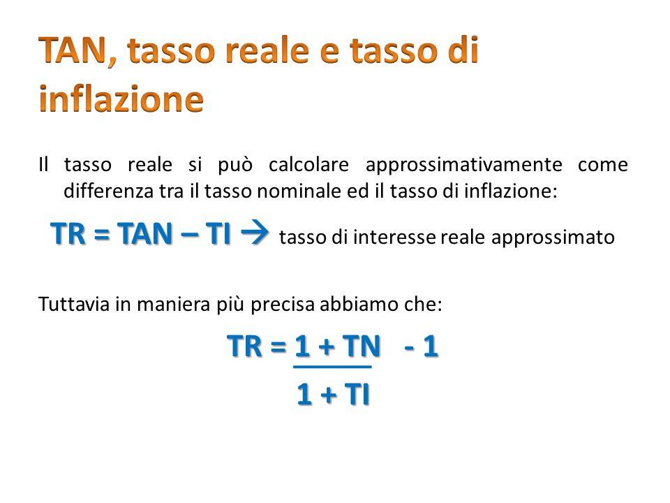 Il tasso reale si può calcolare approssimativamente come differenza tra il tasso nominale ed il tasso di inflazione: TR = TAN – TI TR = TAN – TI tasso
