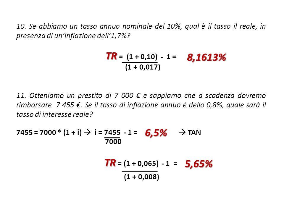 10. Se abbiamo un tasso annuo nominale del 10%, qual è il tasso il reale, in presenza di uninflazione dell1,7%? TR TR = (1 + 0,10) - 1 = (1 + 0,017) 1