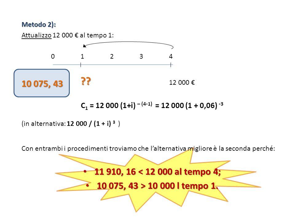 Metodo 2): Attualizzo 12 000 al tempo 1: 0123401234 ?? ?? 12 000 C 1 = 12 000 (1+i) – (4-1) = 12 000 (1 + 0,06) -3 (in alternativa: 12 000 / (1 + i) 3