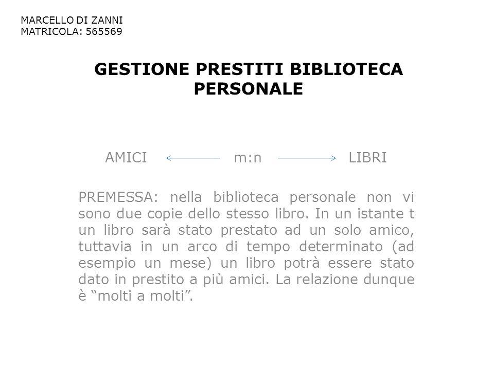 GESTIONE PRESTITI BIBLIOTECA PERSONALE AMICI m:n LIBRI PREMESSA: nella biblioteca personale non vi sono due copie dello stesso libro. In un istante t