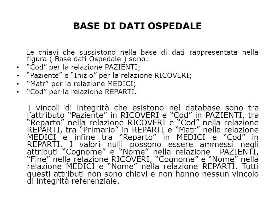 BASE DI DATI OSPEDALE Le chiavi che sussistono nella base di dati rappresentata nella figura ( Base dati Ospedale ) sono: Cod per la relazione PAZIENT