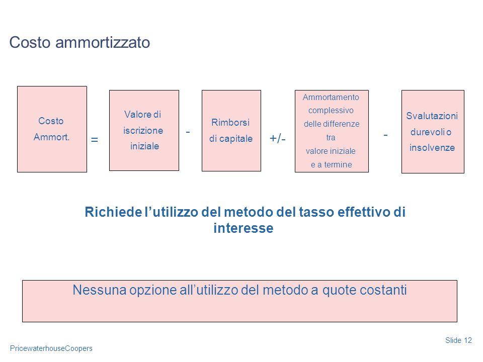 PricewaterhouseCoopers Costo ammortizzato Slide 12 Richiede lutilizzo del metodo del tasso effettivo di interesse Nessuna opzione allutilizzo del meto