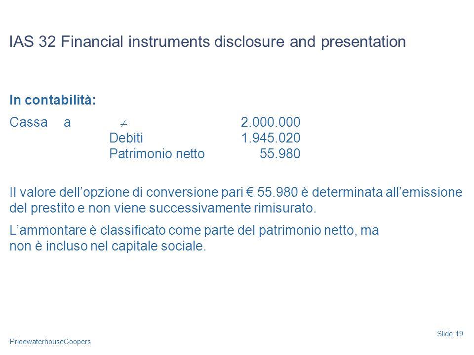 PricewaterhouseCoopers In contabilità: Cassaa 2.000.000 Debiti1.945.020 Patrimonio netto55.980 Il valore dellopzione di conversione pari 55.980 è dete