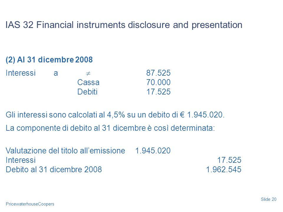 PricewaterhouseCoopers (2) Al 31 dicembre 2008 Interessi a 87.525 Cassa70.000 Debiti17.525 Gli interessi sono calcolati al 4,5% su un debito di 1.945.