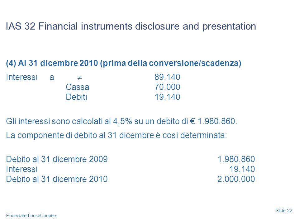 PricewaterhouseCoopers (4) Al 31 dicembre 2010 (prima della conversione/scadenza) Interessia 89.140 Cassa70.000 Debiti19.140 Gli interessi sono calcol