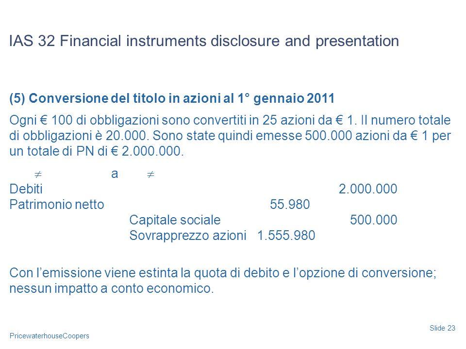 PricewaterhouseCoopers (5) Conversione del titolo in azioni al 1° gennaio 2011 Ogni 100 di obbligazioni sono convertiti in 25 azioni da 1. Il numero t