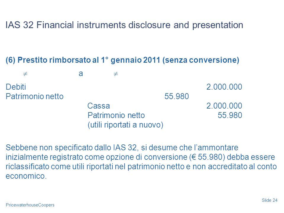 PricewaterhouseCoopers (6) Prestito rimborsato al 1° gennaio 2011 (senza conversione) a Debiti2.000.000 Patrimonio netto55.980 Cassa2.000.000 Patrimon