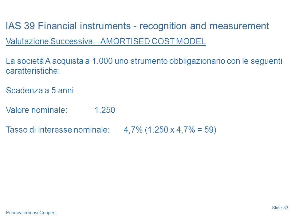 PricewaterhouseCoopers Valutazione Successiva – AMORTISED COST MODEL La società A acquista a 1.000 uno strumento obbligazionario con le seguenti carat