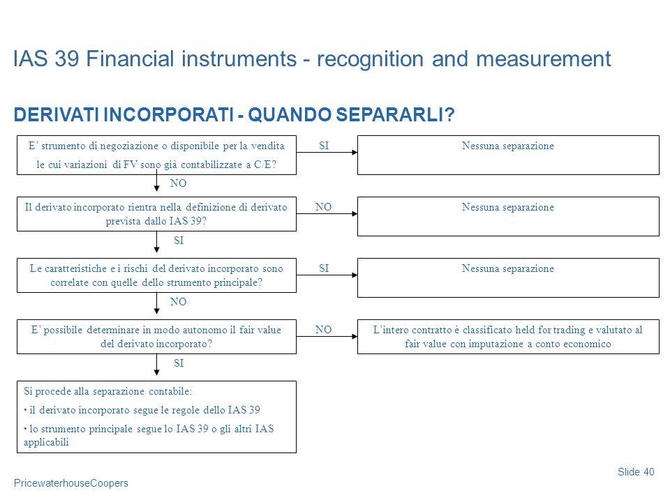 PricewaterhouseCoopers IAS 39 Financial instruments - recognition and measurement Slide 40 DERIVATI INCORPORATI - QUANDO SEPARARLI.