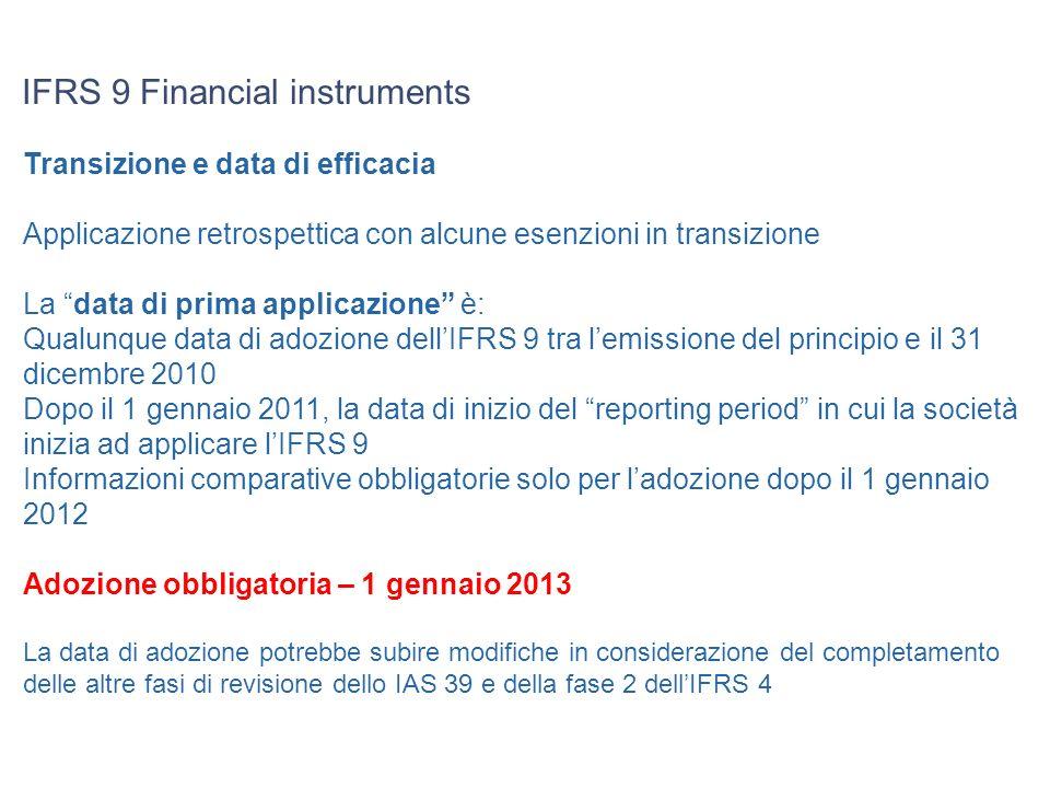 IFRS 9 Financial instruments Transizione e data di efficacia Applicazione retrospettica con alcune esenzioni in transizione La data di prima applicazi