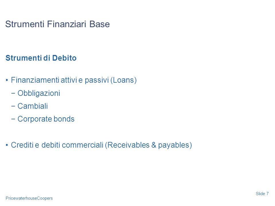 PricewaterhouseCoopers Strumenti di Debito Finanziamenti attivi e passivi (Loans) Obbligazioni Cambiali Corporate bonds Crediti e debiti commerciali (