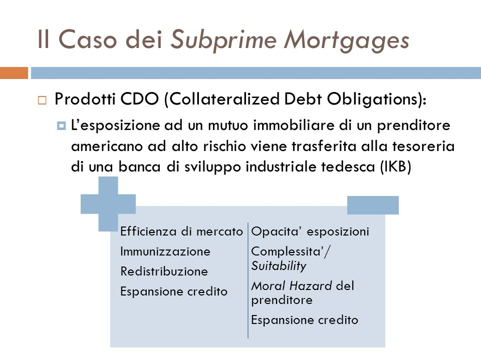Il Caso dei Subprime Mortgages Prodotti CDO (Collateralized Debt Obligations): Lesposizione ad un mutuo immobiliare di un prenditore americano ad alto