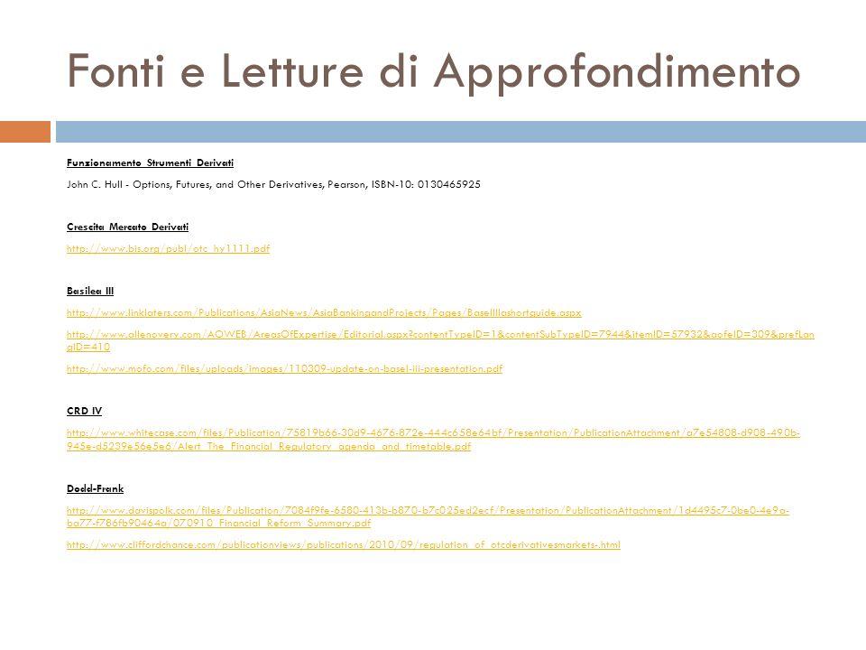 Fonti e Letture di Approfondimento Funzionamento Strumenti Derivati John C. Hull - Options, Futures, and Other Derivatives, Pearson, ISBN-10: 01304659