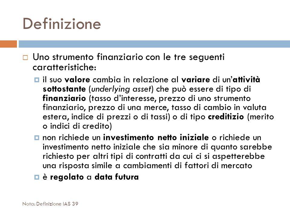 Definizione Uno strumento finanziario con le tre seguenti caratteristiche: il suo valore cambia in relazione al variare di unattività sottostante (und