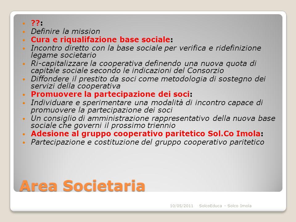 Area Societaria ??: Definire la mission Cura e riqualifazione base sociale: Incontro diretto con la base sociale per verifica e ridefinizione legame s