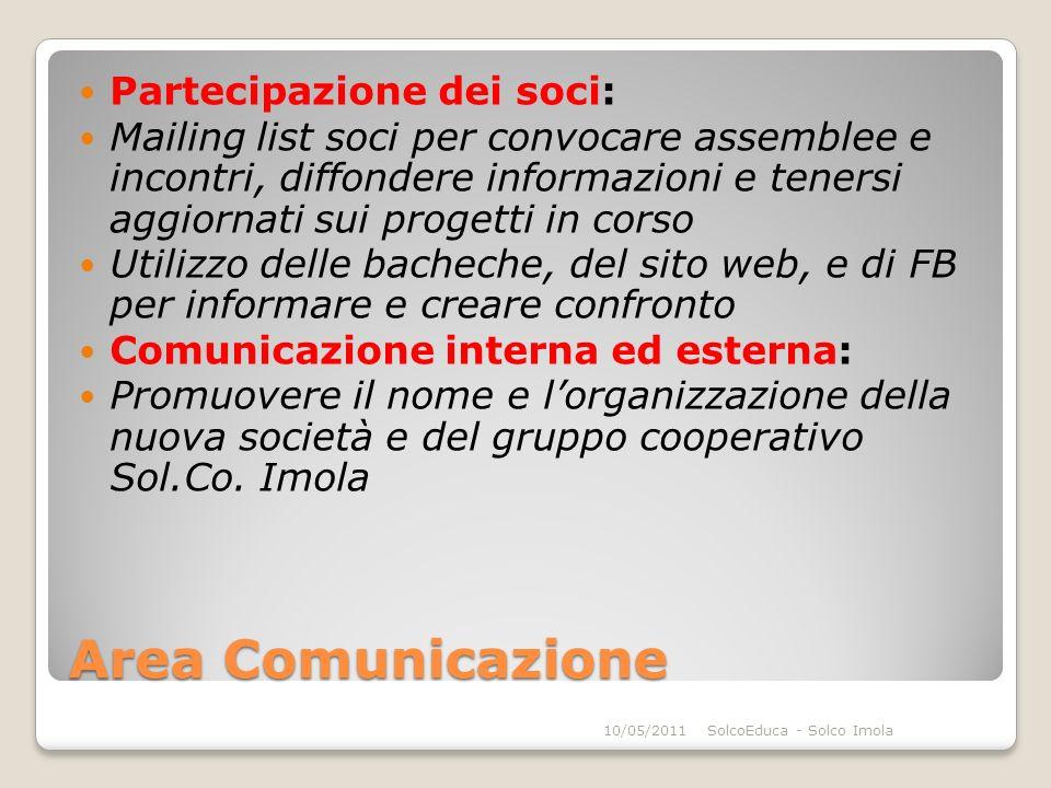 Area Comunicazione Partecipazione dei soci: Mailing list soci per convocare assemblee e incontri, diffondere informazioni e tenersi aggiornati sui pro
