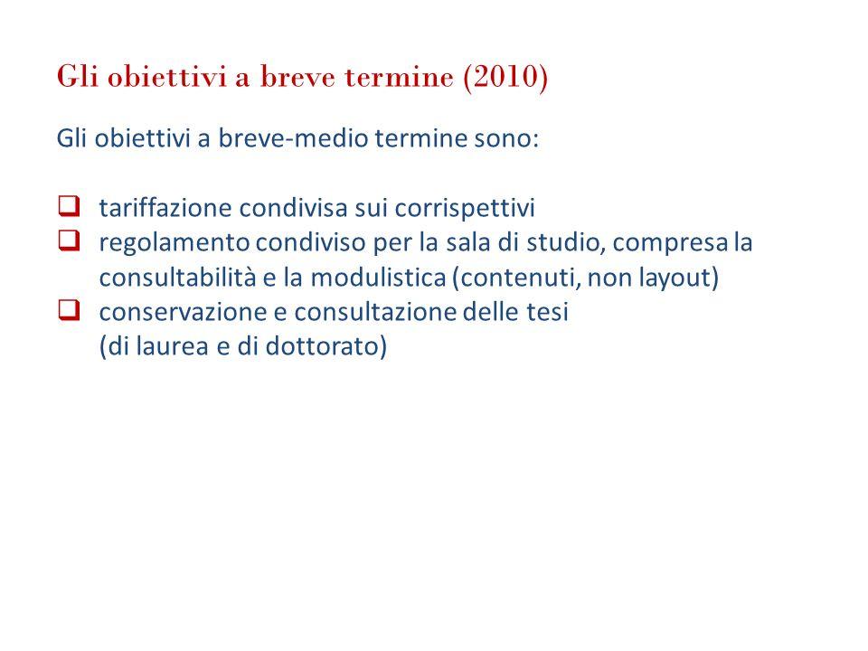 Gli obiettivi a breve termine (2010) Gli obiettivi a breve-medio termine sono: tariffazione condivisa sui corrispettivi regolamento condiviso per la s