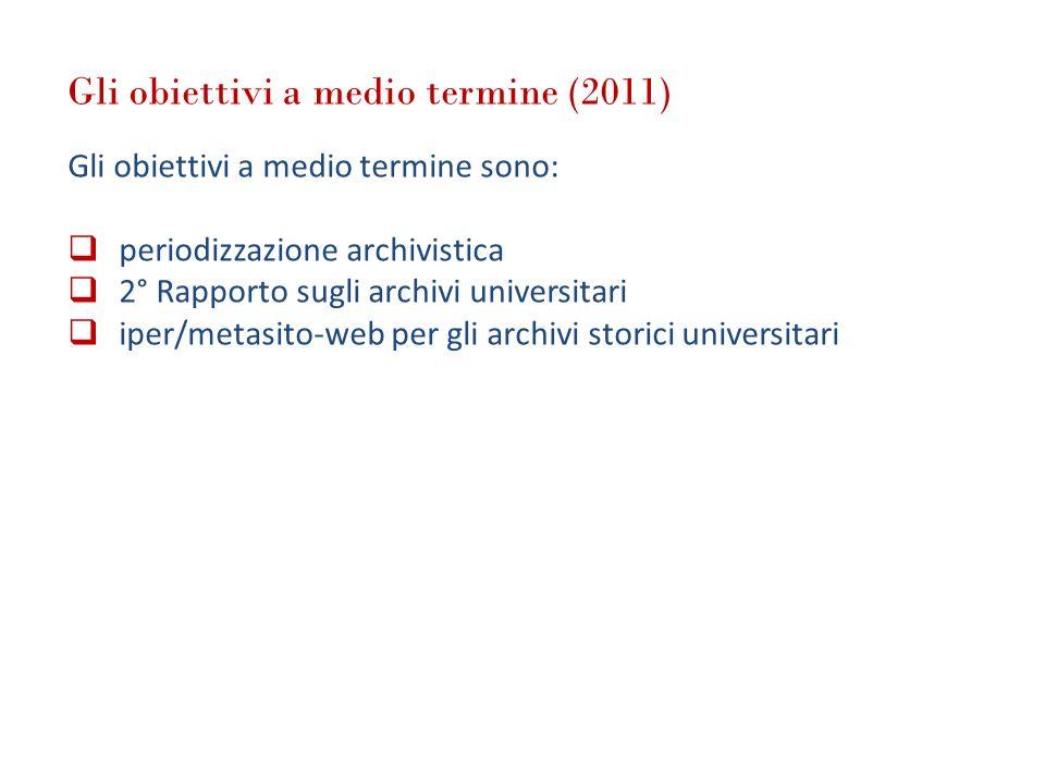 Gli obiettivi a medio termine (2011) Gli obiettivi a medio termine sono: periodizzazione archivistica 2° Rapporto sugli archivi universitari iper/meta