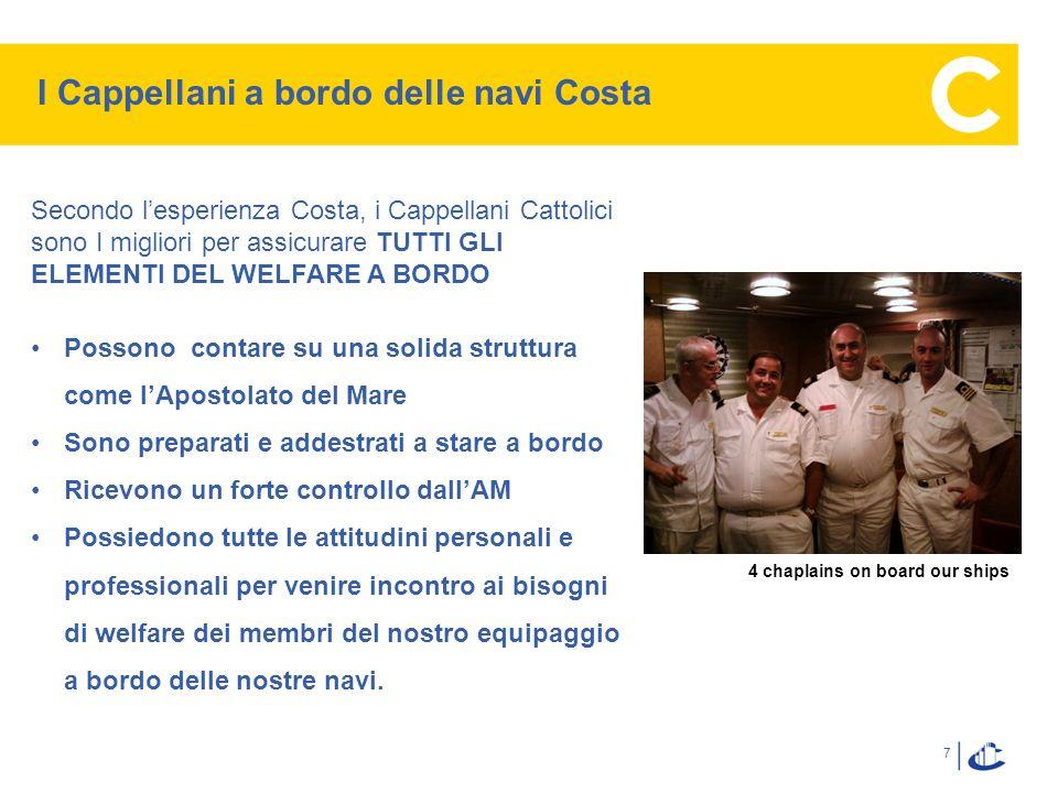 7 I Cappellani a bordo delle navi Costa Secondo lesperienza Costa, i Cappellani Cattolici sono I migliori per assicurare TUTTI GLI ELEMENTI DEL WELFAR