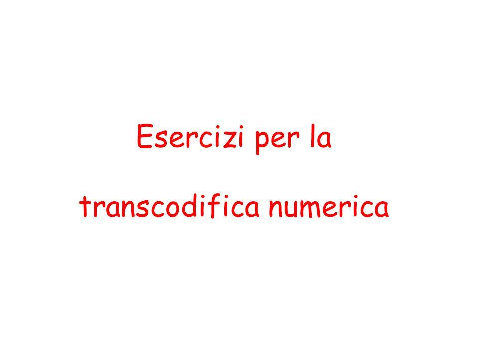 Esercizi per la transcodifica numerica
