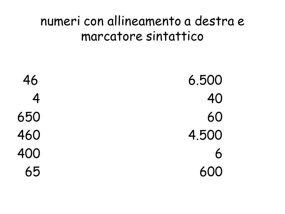 numeri con allineamento a destra e marcatore sintattico 466.500 4 40 650 60 4604.500 400 6 65 600