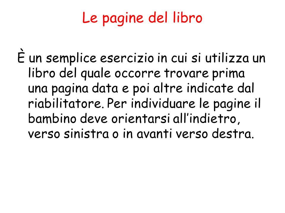 Le pagine del libro È un semplice esercizio in cui si utilizza un libro del quale occorre trovare prima una pagina data e poi altre indicate dal riabilitatore.