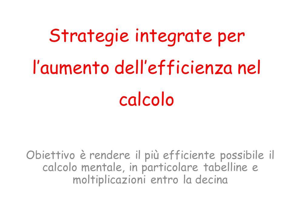 Strategie integrate per laumento dellefficienza nel calcolo Obiettivo è rendere il più efficiente possibile il calcolo mentale, in particolare tabelline e moltiplicazioni entro la decina