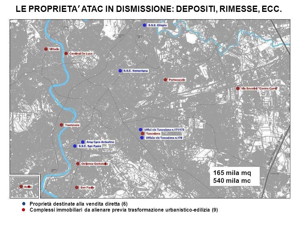 Proprietà destinate alla vendita diretta (6) Complessi immobiliari da alienare previa trasformazione urbanistico-edilizia (9) LE PROPRIETA ATAC IN DIS