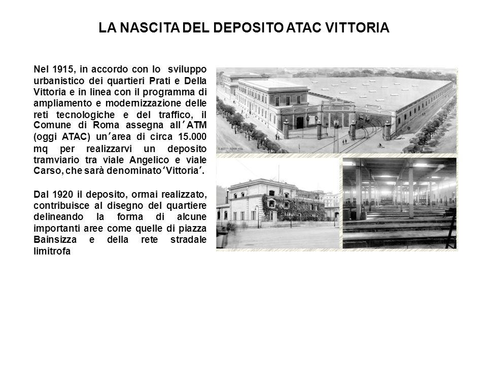 LA NASCITA DEL DEPOSITO ATAC VITTORIA Nel 1915, in accordo con lo sviluppo urbanistico dei quartieri Prati e Della Vittoria e in linea con il programm