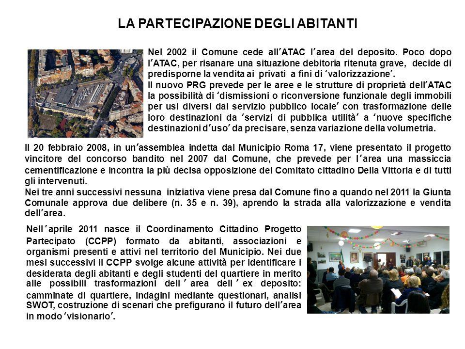 IL LABORATORIO DI PROGETTAZIONE PARTECIPATA Il CCPP chiede al Municipio di attivare il Laboratorio di Progettazione Partecipata per la riqualificazione e il riuso dellex deposito ATAC Vittoria, che viene attivato il 14 giugno 2011.