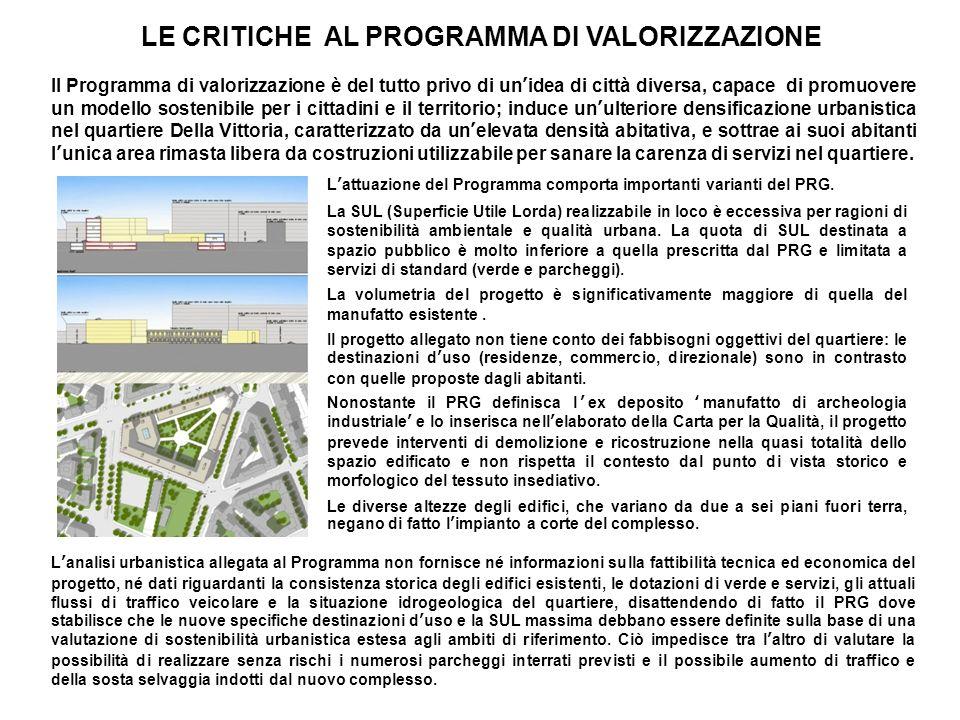 LE CRITICHE AL PROGRAMMA DI VALORIZZAZIONE Il Programma di valorizzazione è del tutto privo di unidea di città diversa, capace di promuovere un modell