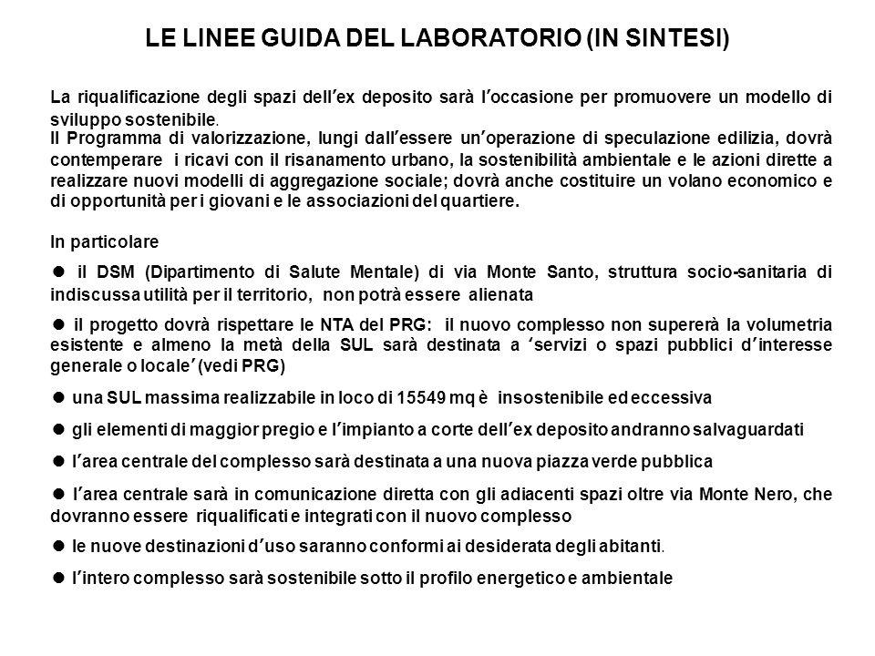 LE LINEE GUIDA DEL LABORATORIO (IN SINTESI) La riqualificazione degli spazi dellex deposito sarà loccasione per promuovere un modello di sviluppo sost