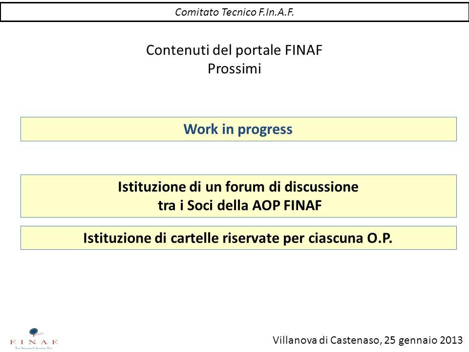 Villanova di Castenaso, 25 gennaio 2013 Contenuti del portale FINAF Prossimi Istituzione di un forum di discussione tra i Soci della AOP FINAF Comitat