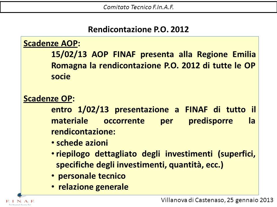 Villanova di Castenaso, 25 gennaio 2013 Rendicontazione P.O. 2012 Scadenze AOP: 15/02/13 AOP FINAF presenta alla Regione Emilia Romagna la rendicontaz